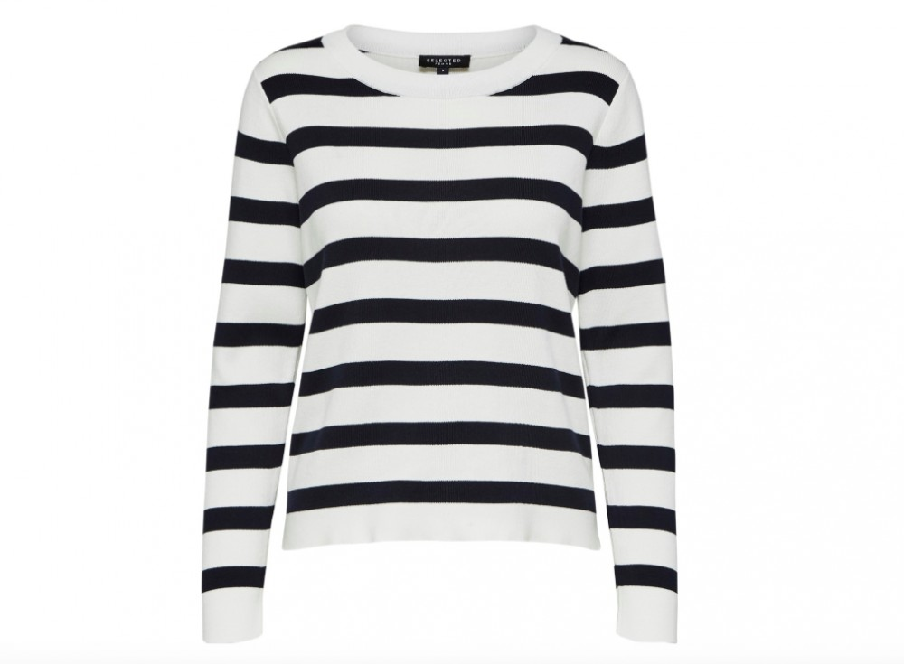 08183f14 Selected Femme - Alina stripe ls Knit o-neck / Blå:hvit | Hans og Hennes  (hogh.no) klær og tilbehør til dame og herre