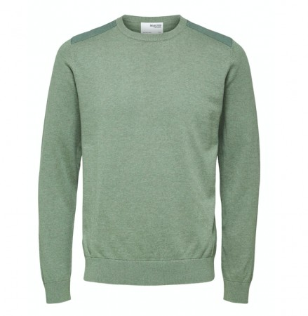 Selected Homme - Slhkeston knit crew neck / Aluminium detail