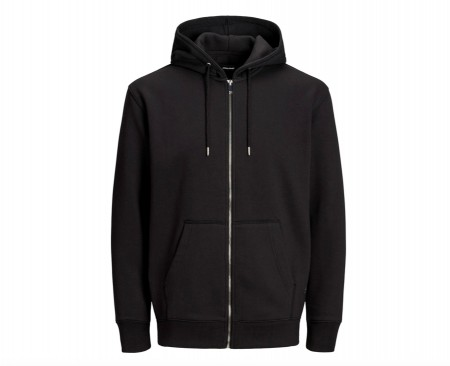 Jack & Jones - Soft sweat zip hood / Svart
