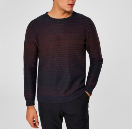 Selected Homme - Andrew camp crew neck / Blå strip: burgunder