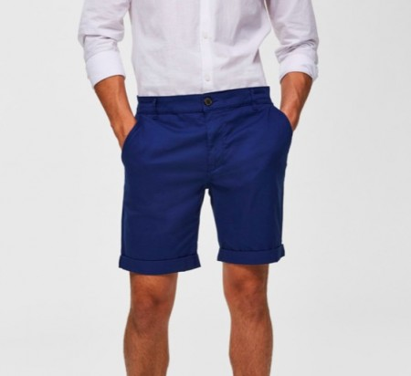 Selected Homme - Straight paris shorts / klar blå