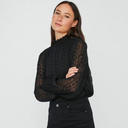 Vero Moda - Marlyn high-neck smock / Sort
