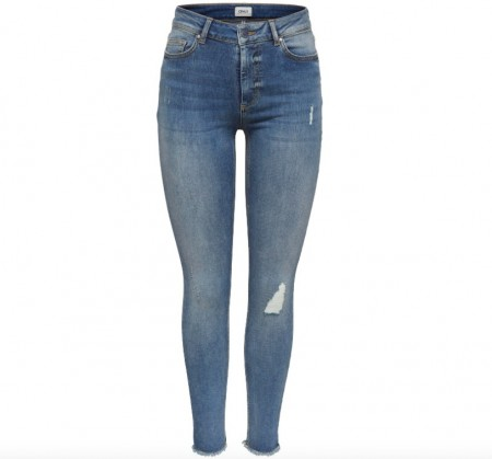 Only - Blush Mid Sk Ank Raw Jeans