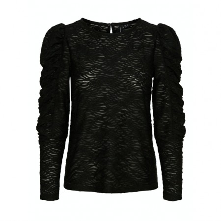 Vero Moda - Vmjudith L/s Lace Puff Top / Black