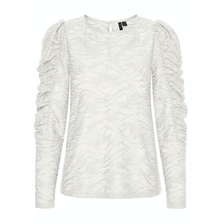 Vero Moda - Vmjudith L/s Lace Puff Top / White