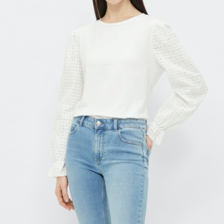 Pieces - Pclizzie ls top / White