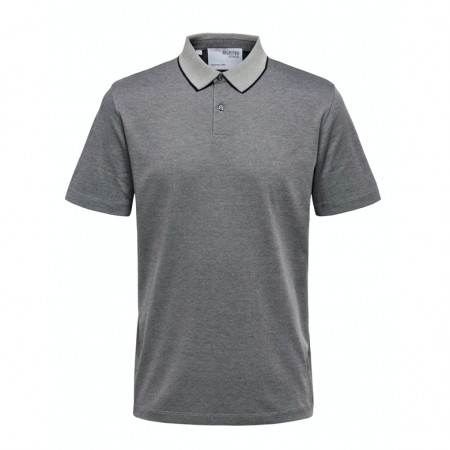Selected Homme - Slhleroy ss polo / Grey