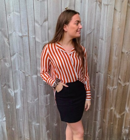 Selected Femme - Dynella  shirt / Stripes ginger bread