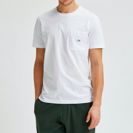 Selected Homme - Slhenzo pocket ss o-neck / Hvit