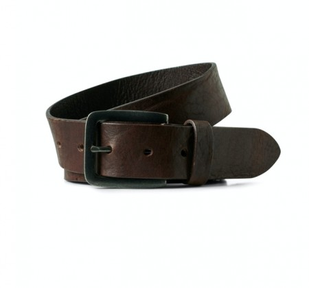 Jack & Jones - Leather belt / Black coffee