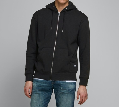 Jack & Jones - Soft sweat zip hood / Black