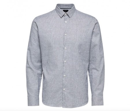Selected Homme - Slim camp shirt / Lys grå melange
