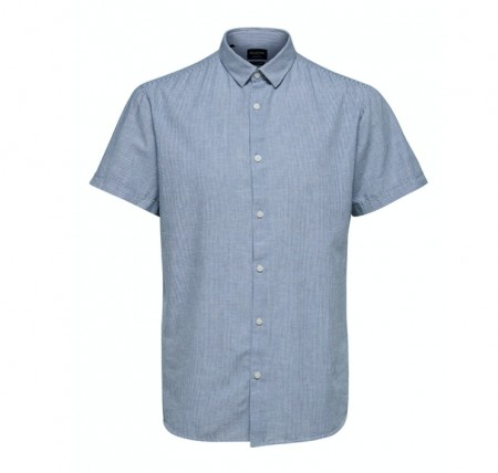 Selected Homme - Linen shirt ss / medieval blue stripes