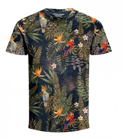 Jack & Jones - Tropicalbirds tee crew neck / Navy Blazer