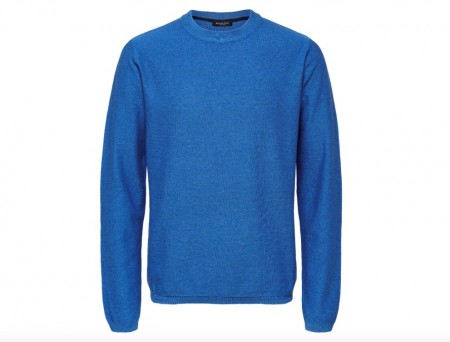Selected Homme - Page cashmere camp crew neck / Lys blå