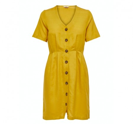 Only - Viva life ss button dress / Golden yellow