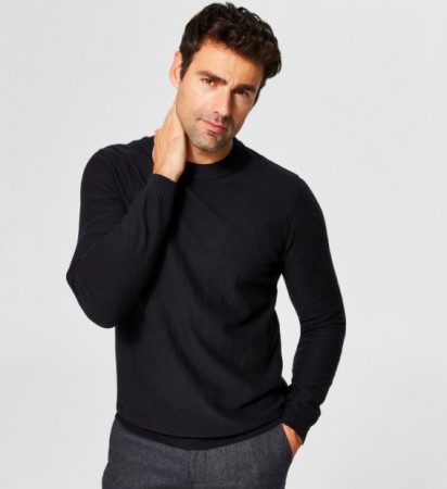 Selected Homme - Page cashmere camp crew neck / Svart