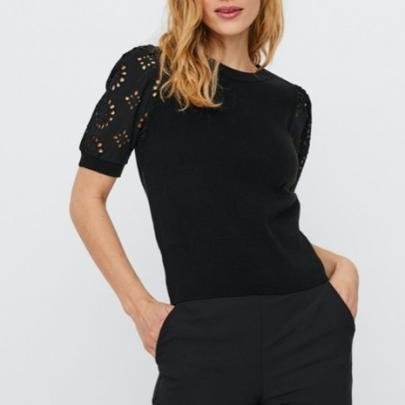 Vero Moda - Vmnewflower ss o-neck / Sort