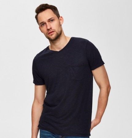 Selected Homme - Linen ss v-neck / Tee