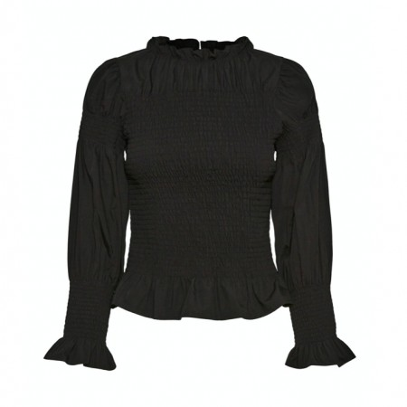 Vero Moda - Vmflea l/s high neck smock top / Black