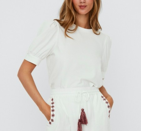 Vero Moda - Vmkerry 2/4 o-neck top / White