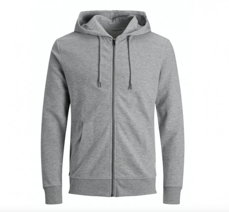 Jack & Jones - Jjebasic Sweat Zip Hood / Grå